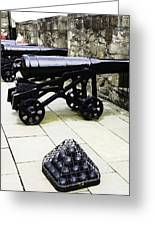 Oil Painting - Tourists And Cannons With Ammunition At The Wall Of Stirling Castle Greeting Card