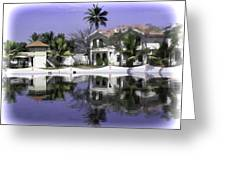 Oil Painting - View Of The Cottages And Palm Trees Greeting Card