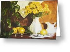 oil painting print of art for sale Golden Lemons  Greeting Card
