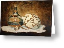 Oil Painting - Indian Pots Greeting Card