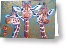 Oil Painting Of Three Gorgeous Giraffes Greeting Card