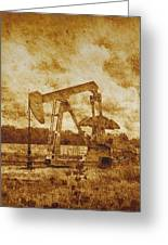 Oil Pump Jack In Sepia Two Greeting Card
