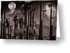 Oil Refinery With A Surreal Moonlight Greeting Card