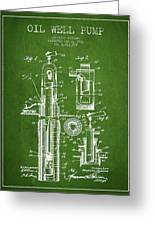 Oil Well Pump Patent From 1912 - Green Greeting Card