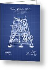 Oil Well Rig Patent From 1893 - Blueprint Greeting Card