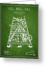 Oil Well Rig Patent From 1893 - Green Greeting Card