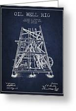 Oil Well Rig Patent From 1893 - Navy Blue Greeting Card