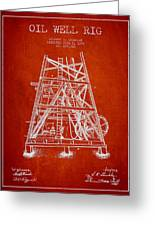 Oil Well Rig Patent From 1893 - Red Greeting Card