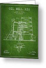 Oil Well Rig Patent From 1917- Green Greeting Card