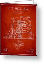 Oil Well Rig Patent From 1917- Red Greeting Card