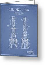 Oil Well Rig Patent From 1927 - Light Blue Greeting Card