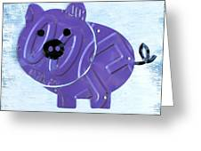 Oink The Pig License Plate Art Greeting Card