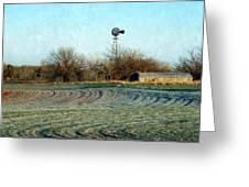 Oklahoma Farm In Winter Greeting Card