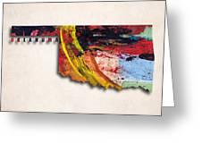 Oklahoma Map Art - Painted Map Of Oklahoma Greeting Card
