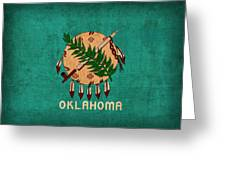 Oklahoma State Flag Art On Worn Canvas Greeting Card