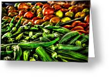 Okra And Tomatoes Greeting Card