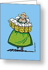 Oktoberfest Beer Waitress Dirndl Greeting Card