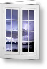 Old 16 Pane White Window Stormy Lightning Lake View Greeting Card