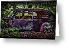 Old Abandoned Car In The Woods Greeting Card