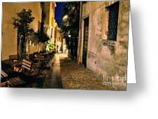 Old Alley At Night Greeting Card