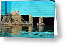 Old Aqua Boat Shed With Aqua Reflections Greeting Card