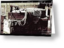 Old Baggage Left Behind With Amy Signature Greeting Card