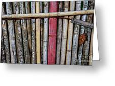 Old Bamboo Fence Greeting Card by Niphon Chanthana