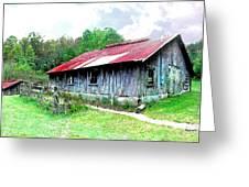 Old Barn Along Golden Road Filtered Greeting Card