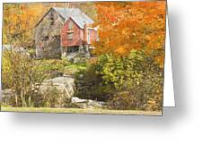 Old Barn And Dam In Autunm Vienna Maine Greeting Card