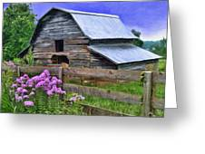 Old Barn And Flowers Greeting Card