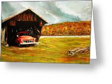 Old Barn And Red Truck Greeting Card