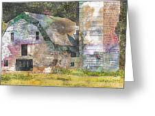 Old Barn And Silos Digital Paint Greeting Card