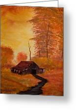 Old Barn In Autumn Greeting Card