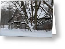 Old Barn In Winter Greeting Card