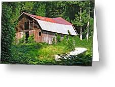 Old Barn Near Chimney Rock Greeting Card