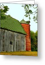 Old Barn With Brick Silo II Greeting Card