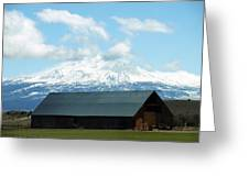Old Barn With Mount Rainier View Greeting Card
