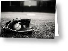 Old Baseball And Glove On Field Greeting Card
