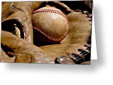 Old Baseball Ball And Gloves Greeting Card