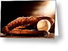 Old Baseball Glove Greeting Card