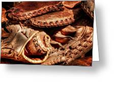 Old Baseball Gloves Greeting Card