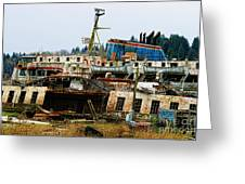 Old B.c. Rusted Ferry Greeting Card