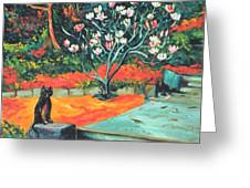 Old Bear Cat And Blooming Magnolia Tree Greeting Card