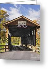 Old Bedford Village Covered Bridge Entrance Greeting Card