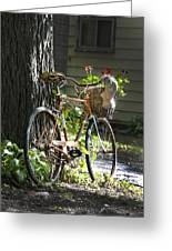 Old Bicycle And Hat Greeting Card