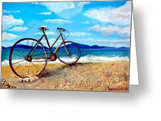 Old Bike At The Beach Greeting Card by Kostas Koutsoukanidis