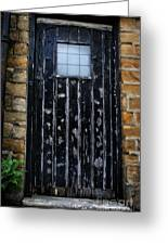 Vintage Cottage Black Door Greeting Card