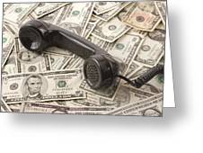 Old Black Phone Receiver On Money Background Greeting Card