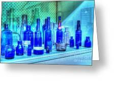 Old Blue Bottles Greeting Card