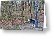 Old Blue Fountain Greeting Card
